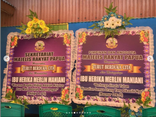 nggota Majelis Rakyat Papua (MRP) bersama staf Sekretariat MRP melayat ke rumah duka Almh. Herika Merlyn Maniani, beliau merupakan salah satu staf Sekretariat MRP.  Turut berduka cita untuk keluarga yang ditinggalkan.